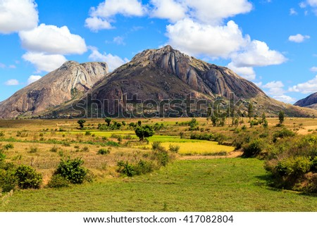 Landscape with rock formation in central Madagascar on a sunny day