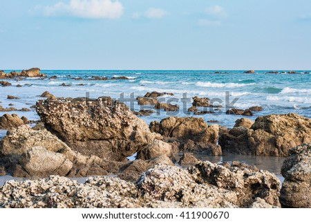 Landscape with rock on the beach, daylight, Rayong, Thailand