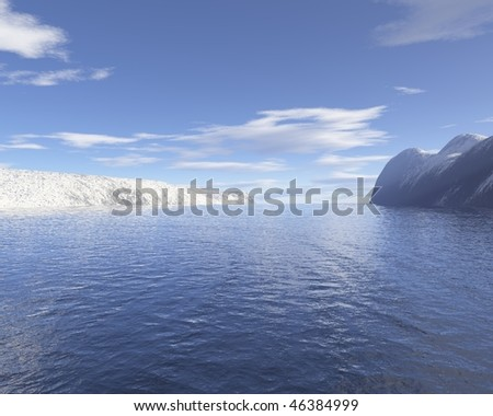 landscape with sea and mountain snow