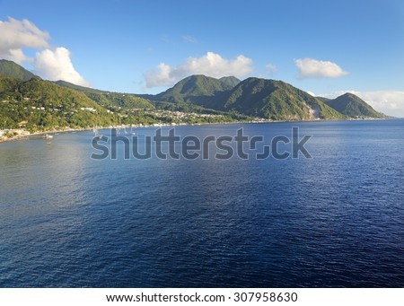 LANDSCAPE WITH SEA,roseau,DOMINICA,WEST INDIES - stock photo