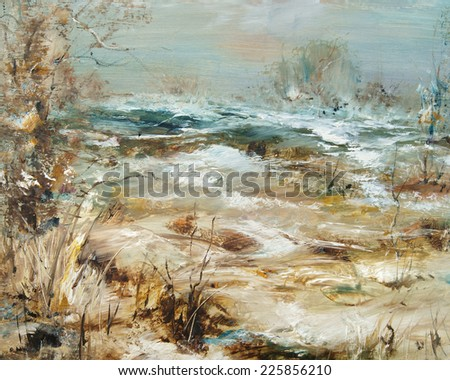 Landscape with snow, oil painting artistic background                                - stock photo