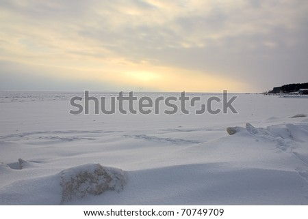 Landscape with snow space and sunset in winter, Russia.