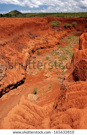 Landscape with soil erosion around Lake Bogoria, Kenya - stock photo