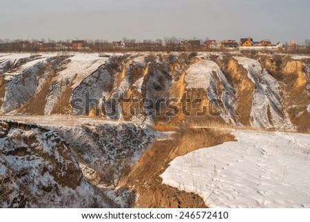 Landscape with soil erosion in Ukraine at winter season