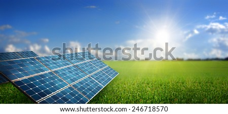 landscape with solar panel - stock photo