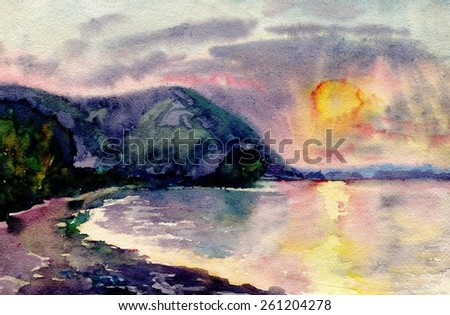 Landscape with sunset. Painting. Watercolor