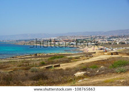 Landscape with the coast of Paphos in Cyprus