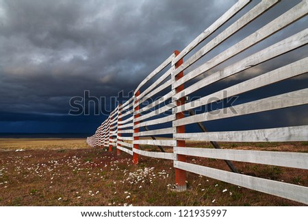 Landscape with the fence, Patagonia