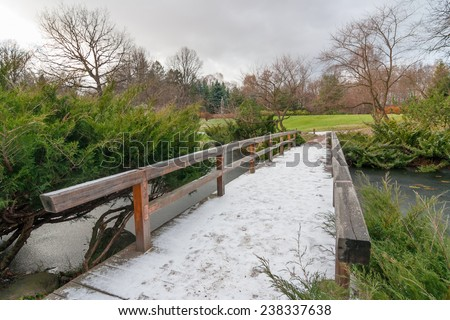 Landscape with the first snow on a wooden bridge across the pond in the Japanese garden - stock photo