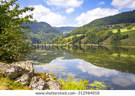 Landscape with the French and Swiss River Doubs, Franche-Comte, France. - stock photo