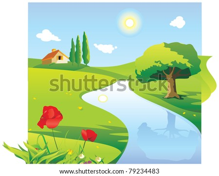 Landscape with the house and the river