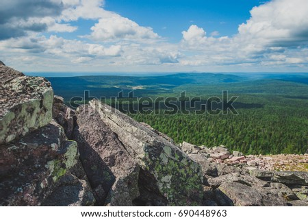 Landscape with the image of the Ural Mountains