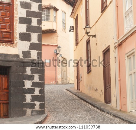 Landscape with the old houses - stock photo