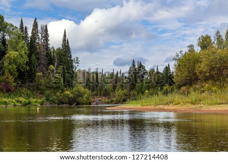 Landscape with the river - stock photo