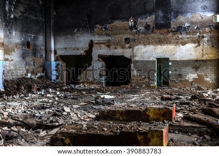 Landscape with the ruins of the old industrial factory buildings. The interior of an abandoned factory with rubble plunder and waste. The collapse of the Ukrainian economy. Odessa