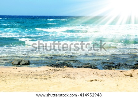 landscape with the sea on the shore