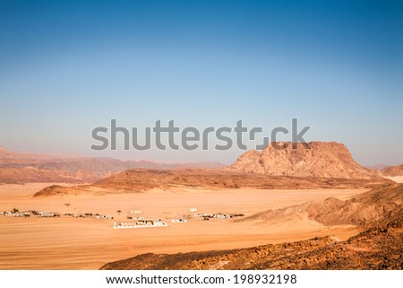 Landscape with the Sinai desert - stock photo