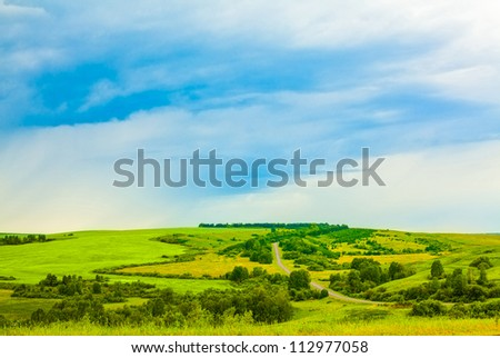 landscape with the sky and the field