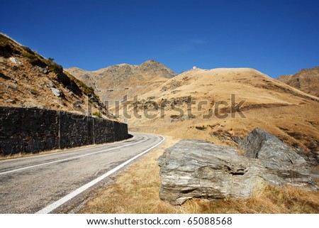 Landscape with Transfagarasan, a famous road in Romania, crossing the mountains