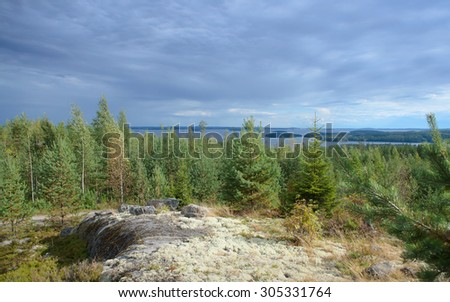 Landscape with tree, lake, stones and stormy Clouds. Tundra in finland.with tundra around Arctic circle. - stock photo