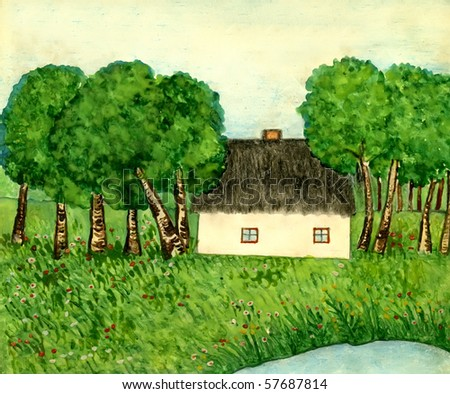Landscape with trees and house, gouache on a paper - stock photo