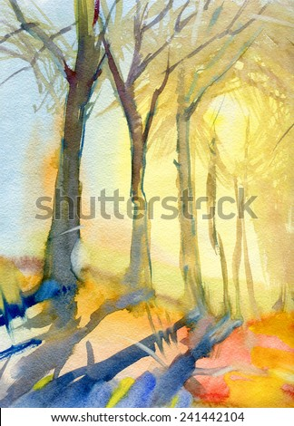 Landscape with trees. Morning. Sunrise. Watercolor. - stock photo