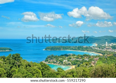Landscape With Turquoise Sea Beaches Tropical Greenery On The Background Of Blue Sky
