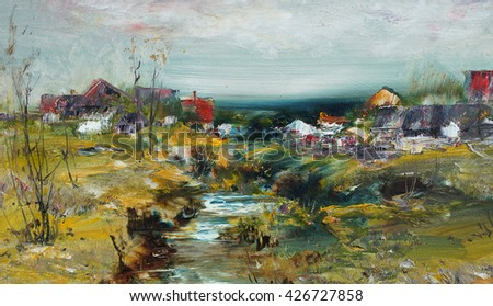 Landscape with village and stream, oil painting illustrations