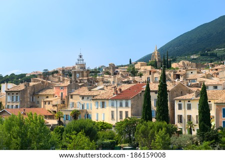 Landscape with village Nyons in the Drome Provencal in France - stock photo