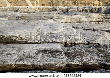 Landscape with water and rocks in Thassos island, Greece, next to the natural pool called Giola Beautiful textures and details