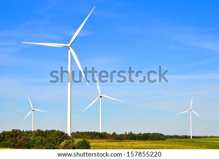 Landscape with windmills - stock photo