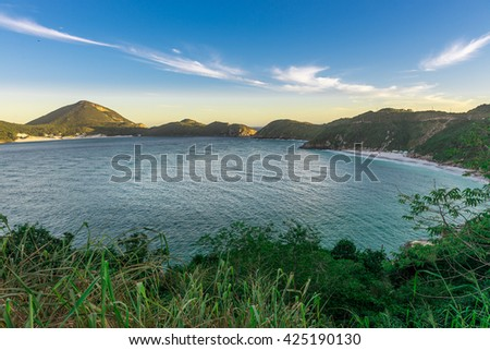 Landscapes and crystalline turquoise beaches of Pontal do Atalaia, Arraial do Cabo, Rio de Janeiro, Brazil.