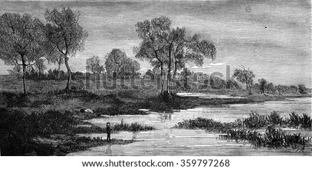 Landscapes by Fritz Van de Kerchove, vintage engraved illustration. Magasin Pittoresque 1876.