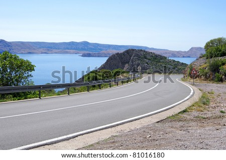 Landscapes in Croatia. Mountain road.