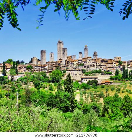 landscapes of beautiful Tuscany - San Gimignano, Italy - stock photo