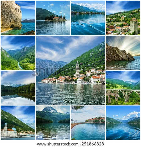 Landscapes of Montenegro collage - stock photo