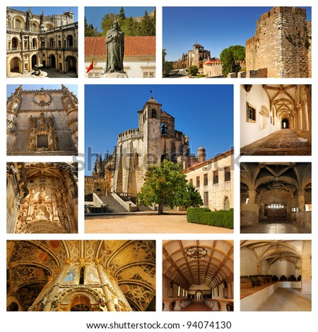 Landscapes of Portugal. Chapel of the Knights Templar and the interior of the castle in Tomar - stock photo