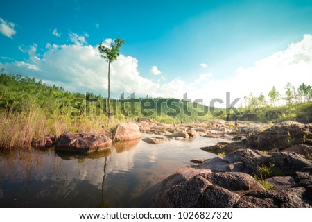 Landscapes of Rio on Pools - natural pools and set of small waterfalls located in the remote and hard to reach Mountain Pine Ridge Forest Reserve in Belize