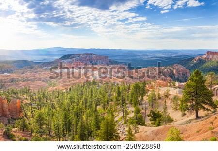 Landscapes of Sandstone Cliffs and Pinnacles of Bryce Canyon National Park in Utah state, United States of America. Horizontal Image Composition - stock photo