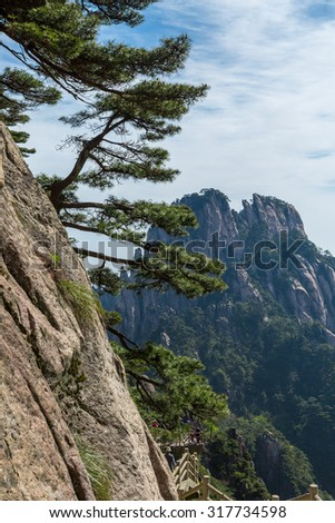 Landscapes of the Huangshan Mountain in China - stock photo