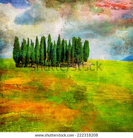 landscapes of Tuscany , artwork in painting style - stock photo