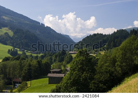 Landscapes with mountain farms and villages in the area of Thun, Tirol, Austria. - stock photo