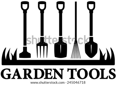 landscaping black icon with set garden tools - stock photo