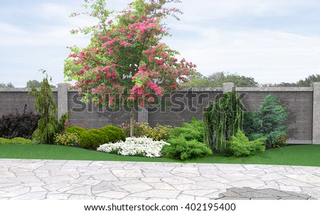 Landscaping Horticultural Background, 3d Rendering