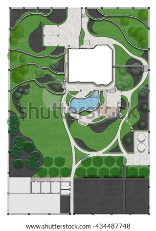 Landscaping master plan, 2d sketch - stock photo