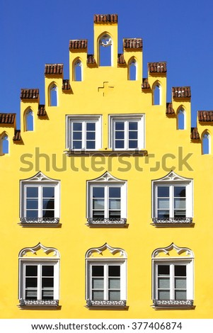 LANDSHUT, GERMANY - MARCH 18, 2012: Ancient unique colourful house in historic medieval old town. Landshut is one of the towns on the Romantic Road which is located at Bavaria.