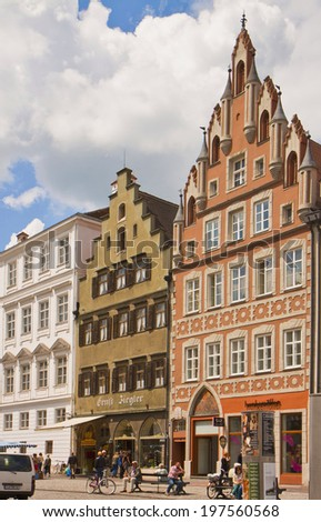 LANDSHUT, GERMANY - MAY 31, 2014: Urban view of Landshut center, Bavarian town near Munich. Landshut was founded on 1204, its buildings maintain Renaissance facades, bold colors and stucco decorations