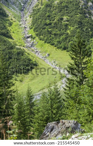 Landslide and rockfall in the Valley of Tannheim in Austria - stock photo