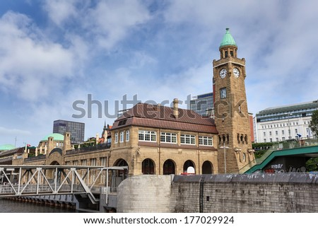 Landungsbruecken and the harbor of Hamburg, Germany - stock photo