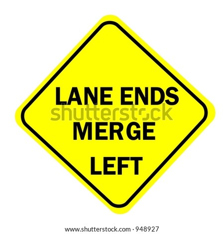 lane ends merge left sign isolated stock illustration 948927
